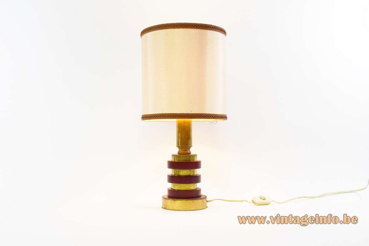 1970s maroon discs table lamp brass plated metal wood rings round fabric lampshade Massive Belgium vintage