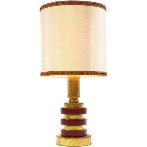 1970s maroon wood discs round table lamp geometric metal Massive Belgium fabric lampshade