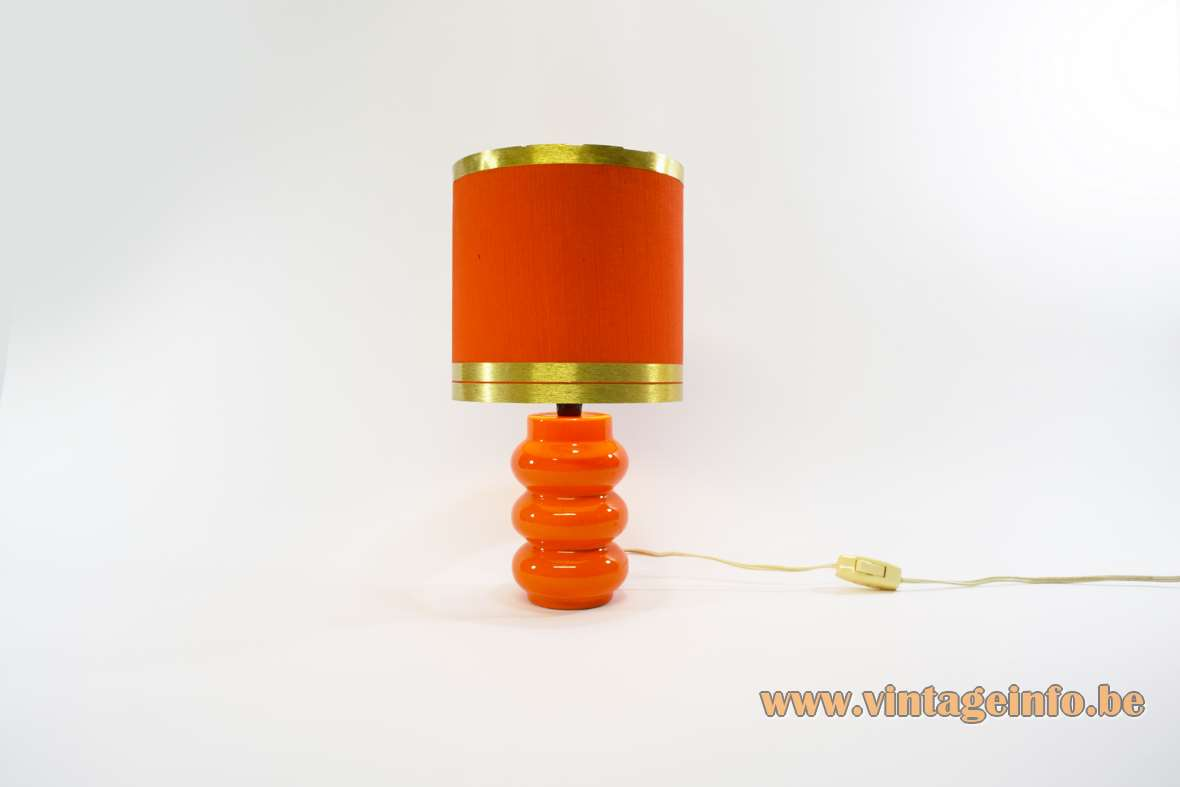 1970s orange ceramic table Lamp 3 rings orange lampshade with golden rings Massive Belgium 1960s vintage