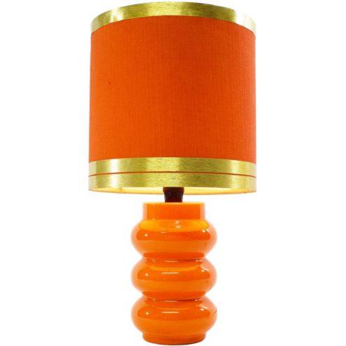 1970s orange ceramics table Lamp Massive Belgium 1960s orange lampshade golden rings MCM