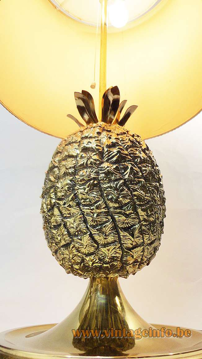 1970s pineapple table lamp plastic ice bucket ananas base conical lampshade Fredotherm Turnwald Collection