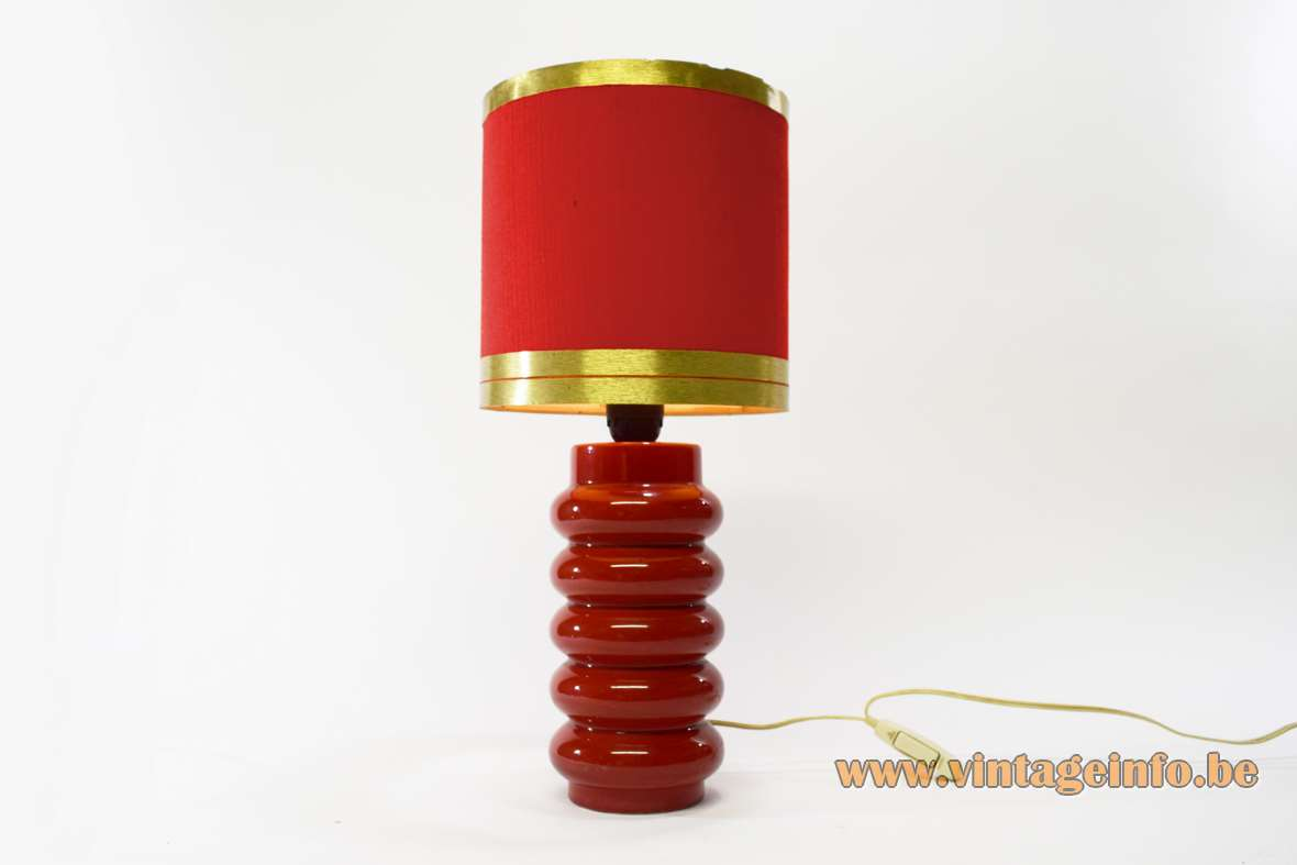 1970s red ceramics table lamp round base fabric lampshade with rings Massive Belgium 1960s MCM