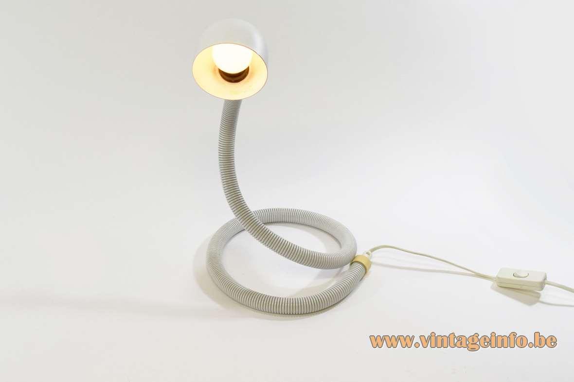 1980s Happylight snake lamp Hebi copy 1969 Design: Isao Hosoe white flexible tube round lampshade Valenti