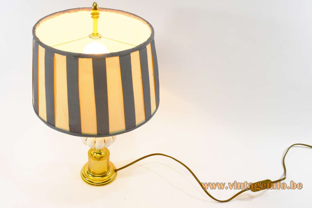 1980s reed table lamp brass base porcelain pumpkin palm leaves striped fabric lampshade Massive Belgium 1990s