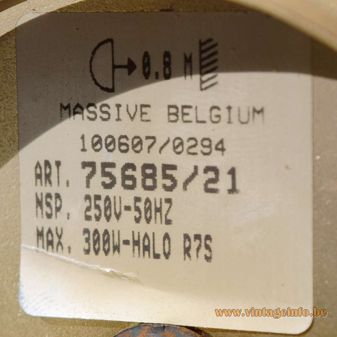 Albatross pendant lamp big frosted glass wing/plate Massive Belgium 1980s 1990s wrinkle-paint label