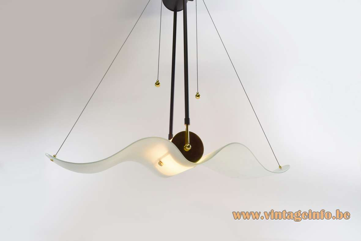 Glass Albatross pendant lamp big frosted curved wing lampshade wrinkle-paint metal Massive Belgium 1980s 1990s
