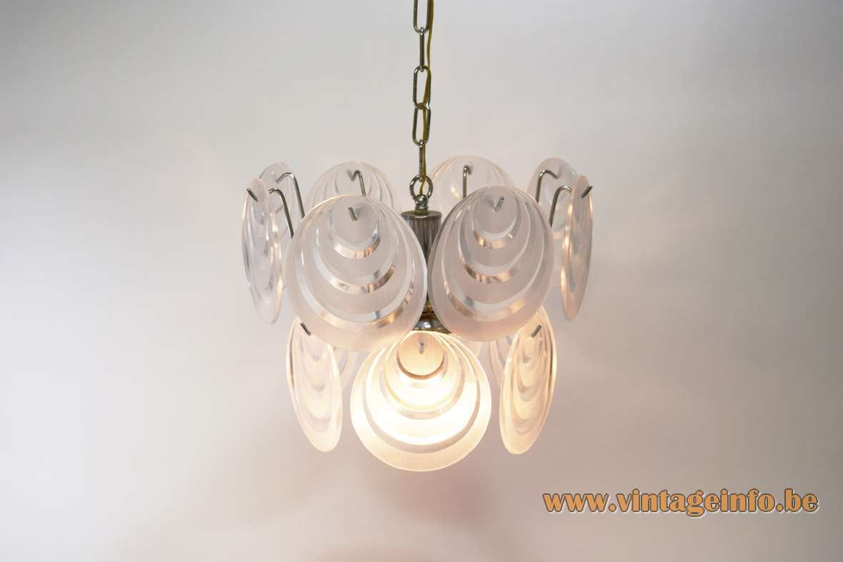 Aro Leuchte 14 clear and frosted acrylic/plastic discs chandelier Vistosi Mazzega style 1960s 1970s Germany