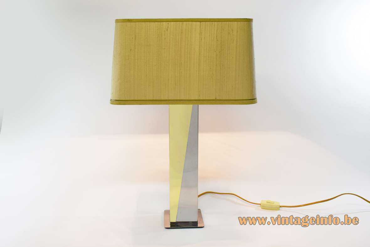 Brass and stainless steel table lamp square base sloping slats fabric lampshade Massive 1970s 1980s vintage