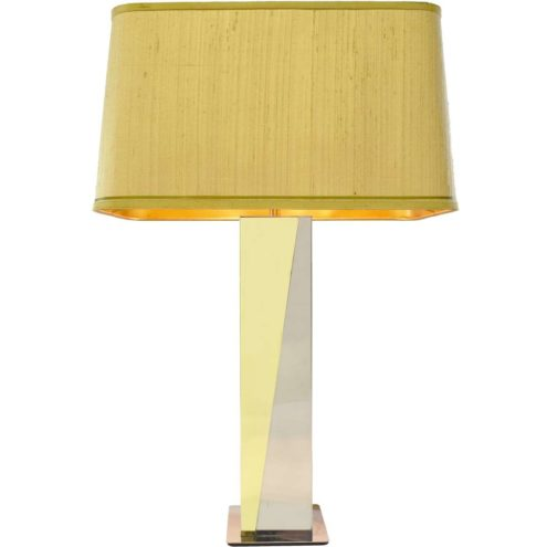 Brass and stainless steel table lamp Massive Belgium fabric lampshade Hollywood Regency 1970s, 1980s