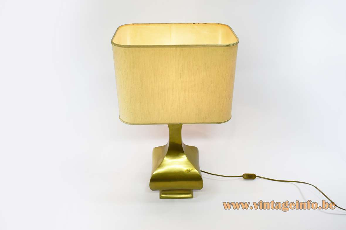 Cast brass table lamp design Maria Pergay curved metal base fabric lampshade Massive Belgium 1970s 1980s