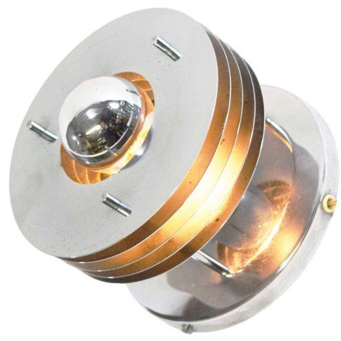 Chrome discs wall lamp Saturn flush mount Reggiani Italy design Massive Belgium 1960s 1970s MCM Mid-Century Modern