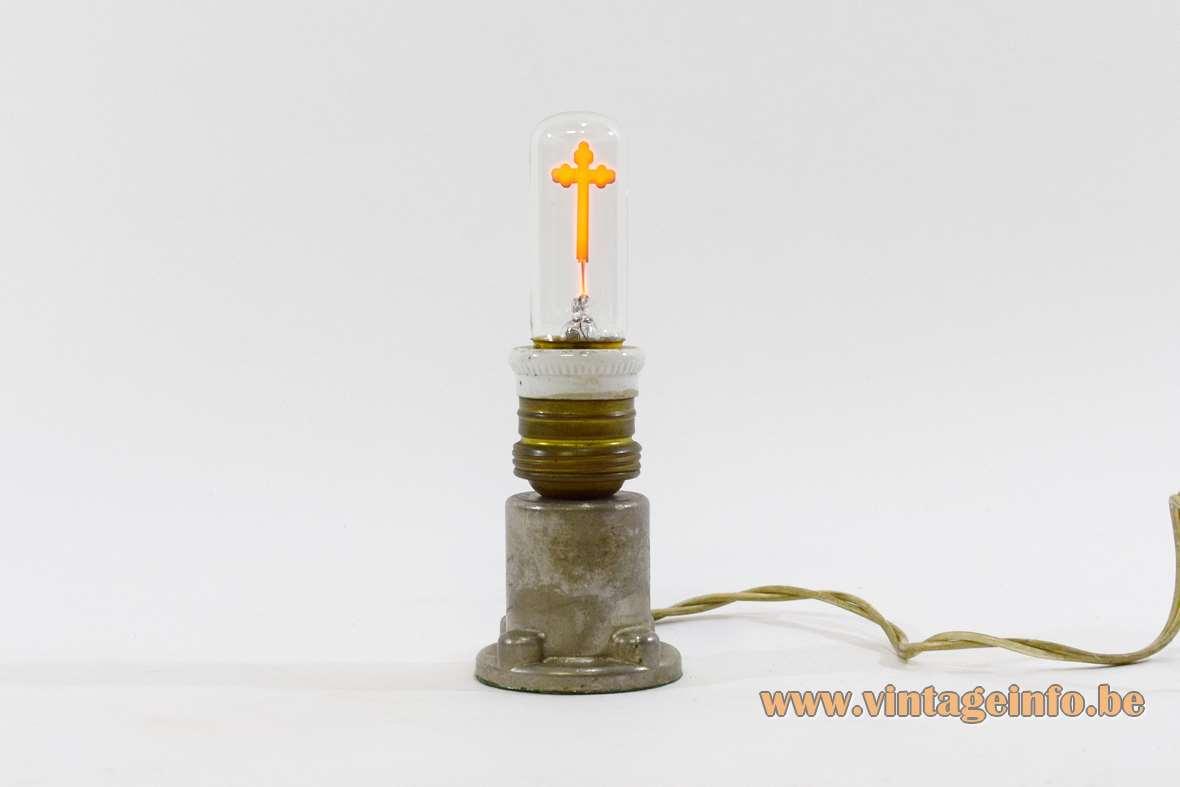 Crucifix table lamp catholic cross religious souvenir Lourdes The Vatican 1950s 1960s metal