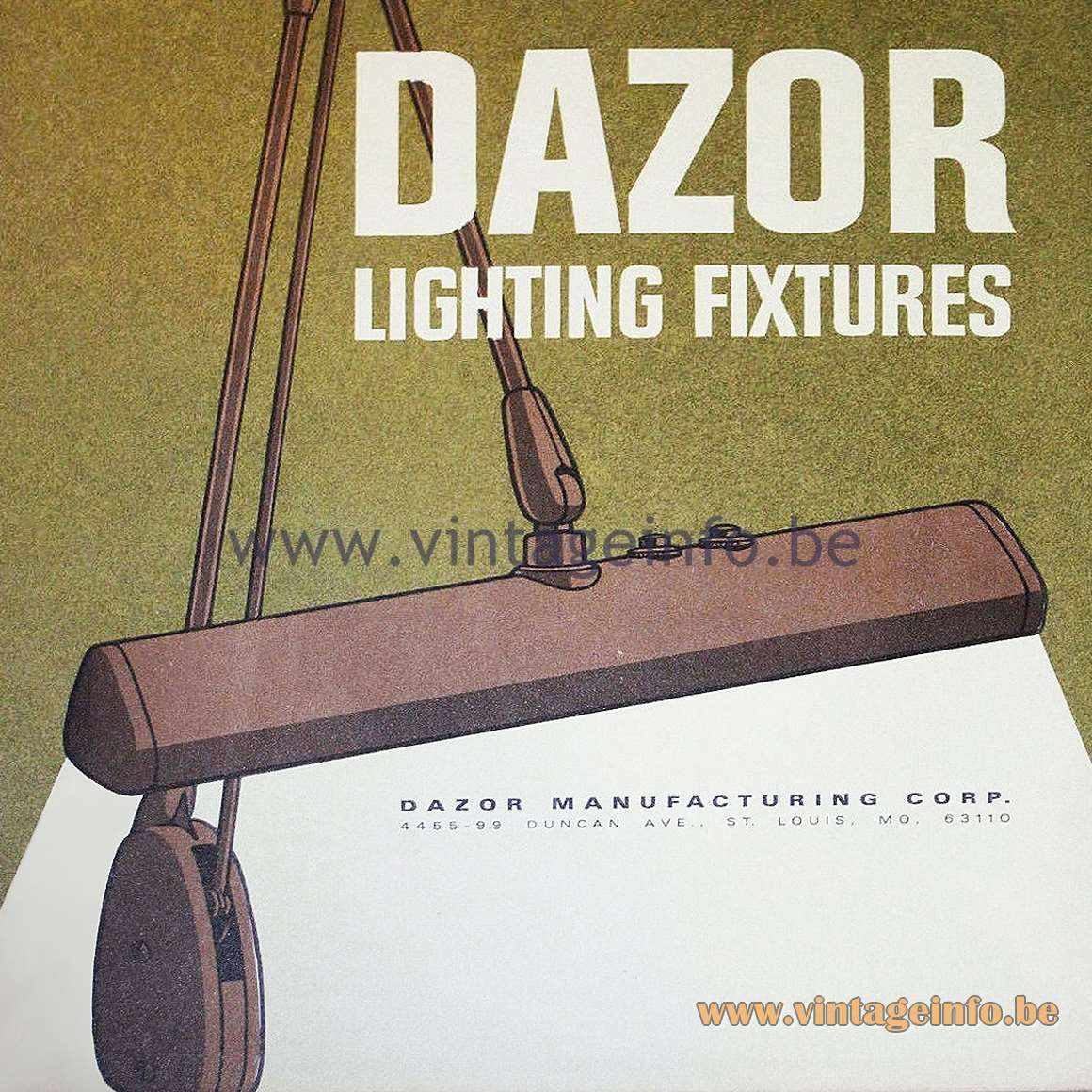 Dazor Floating Fixture 2324 Work Lamp - 1960s Catalogue