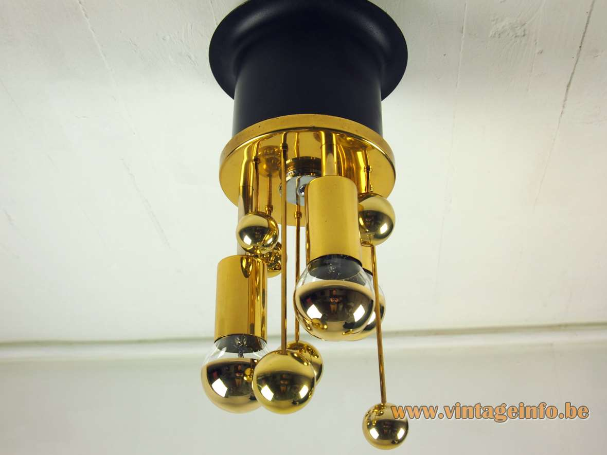 DORIA brass satellite flush mount space age sputnik lamp with globes & gold tipped bulbs 1960s 1970s