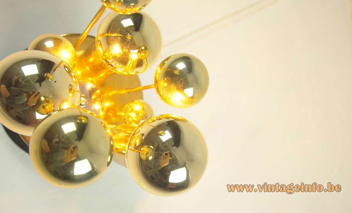 DORIA brass satellite flush mount space age brass globes 1960s 1970s MCM gold cupped light bulbs