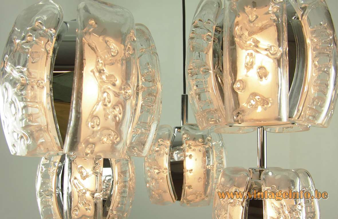 DORIA cascading pendant chandelier clear embossed glass parts with chrome 5 lamps 1970s 1980s MCM Germany
