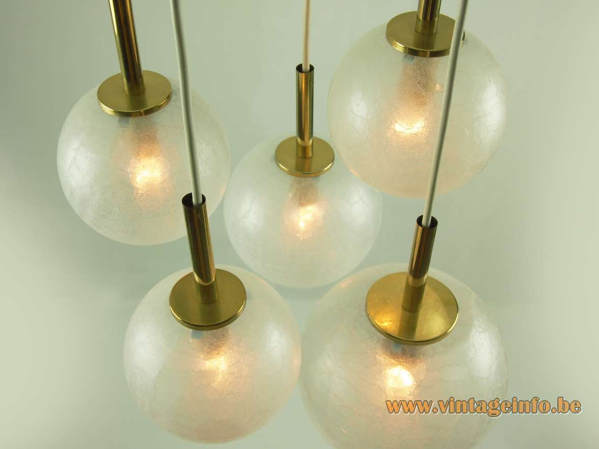 Doria 5 crackle glass globes cascading chandelier 1970s brass Germany pendants