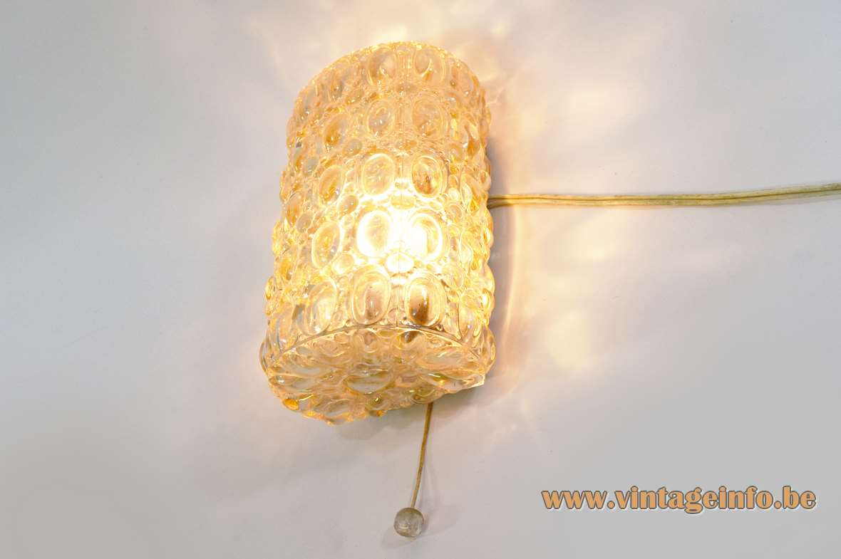 Glashütte Limburg amber glass wall lamp flush mount ceiling light Helena Tynell 1960s 1970s MCM