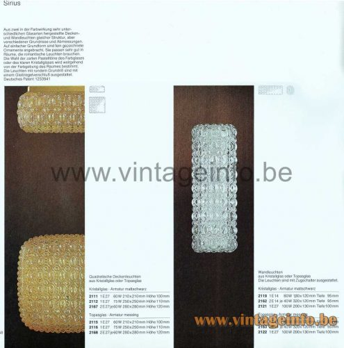 Glashütte Limburg Amber Glass Wall Lamp Sirius - 1979 Catalogue Picture