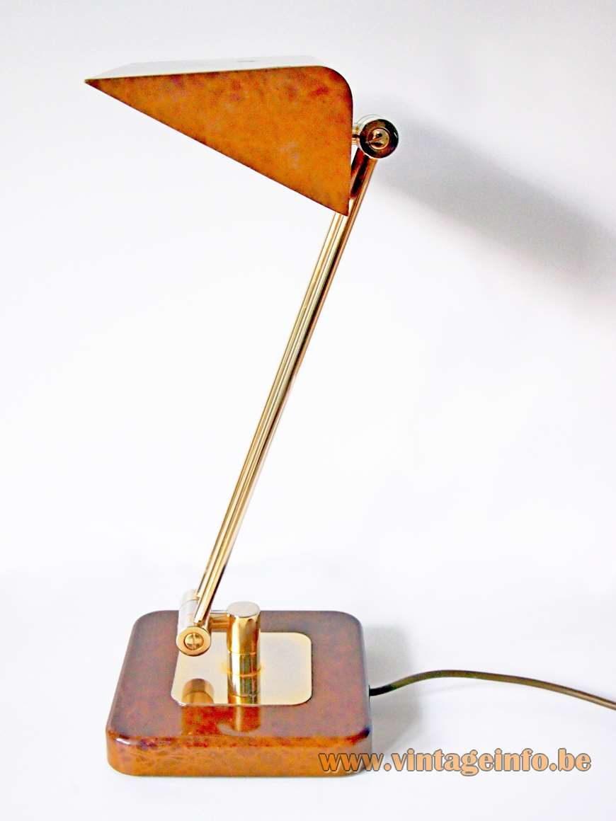 Hillebrand Leuchten desk lamp 7450 brown Chinese lacquer brass rods 1970s 1980s MCM foldable Germany