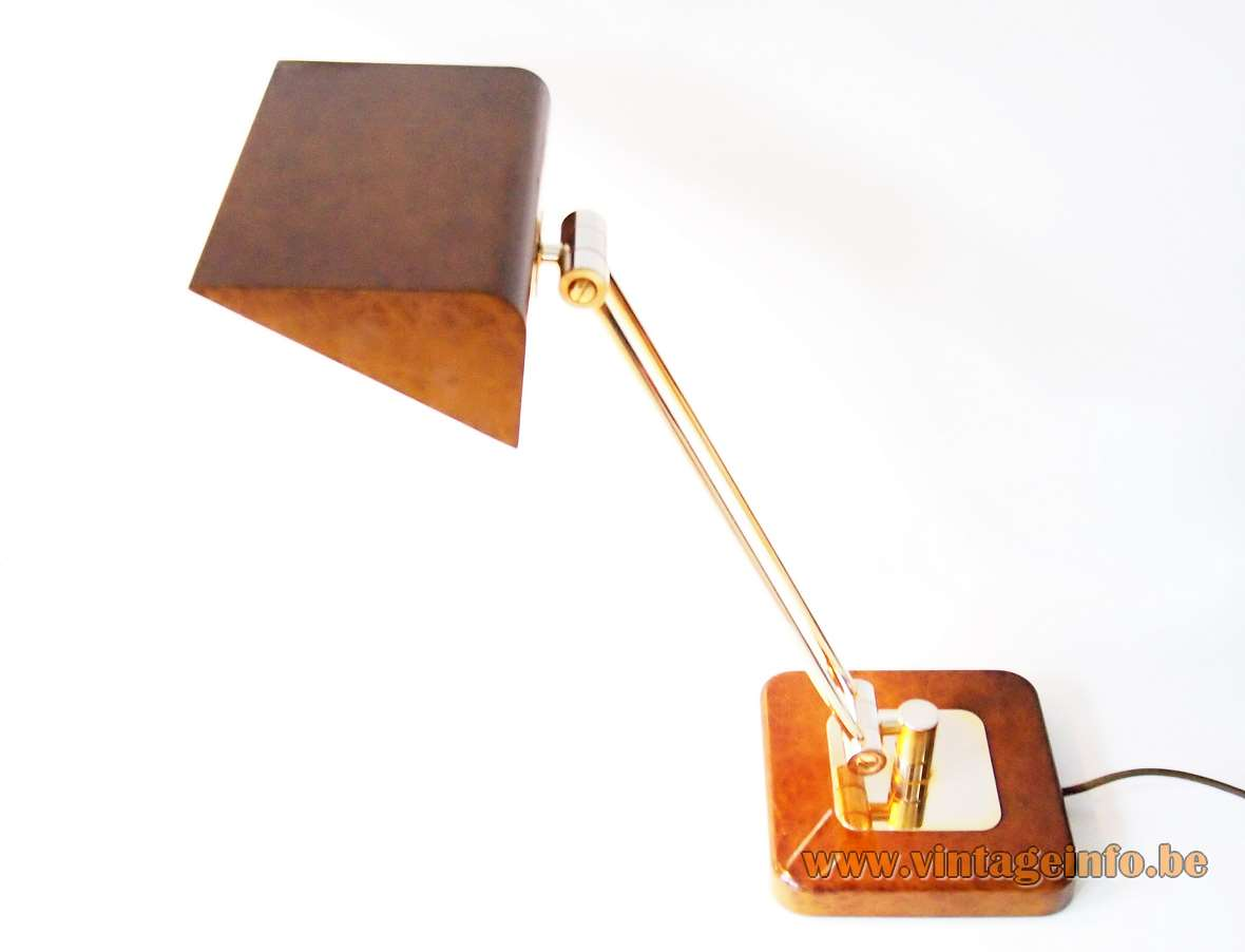 Hillebrand desk lamp 7450 brown Chinese lacquer 2 brass adjustable rods triangular lampshade Germany 1970s 1980s