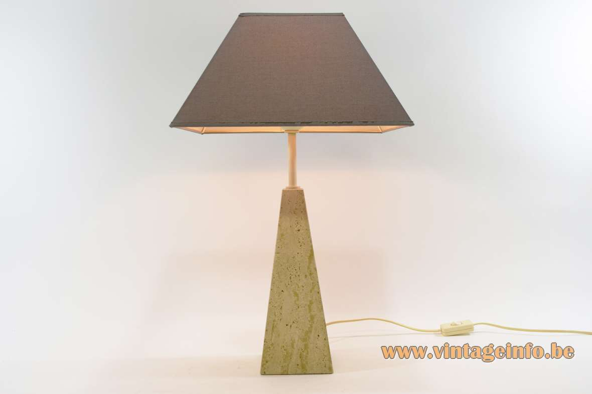 Le Dauphin Trabur table lamp geometric limestone obelisk base square brown conical lampshade Memphis France 1980s