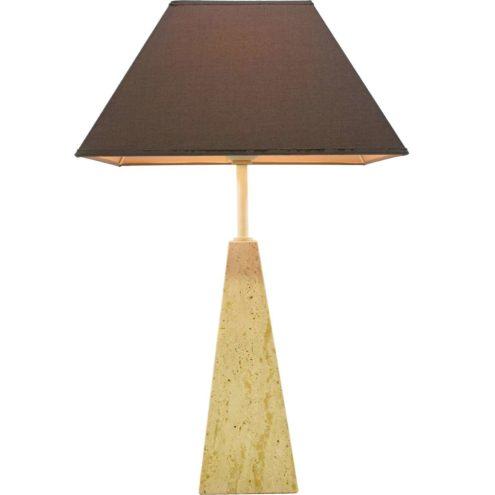 Le Dauphin Trabur table lamp geometric limestone obelisk base square brown conical lampshade Memphis France 1980s