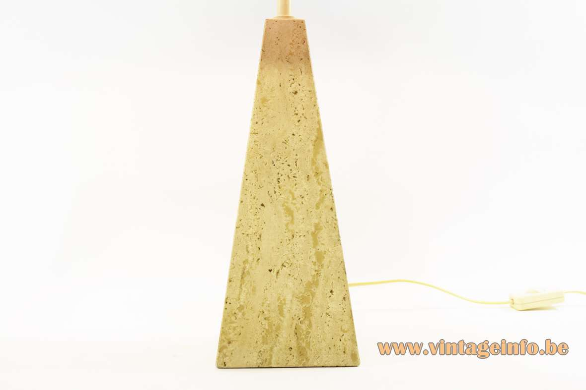 Le Dauphin Trabur table lamp geometric limestone travertine conical obelisk pyramid base France 1980s