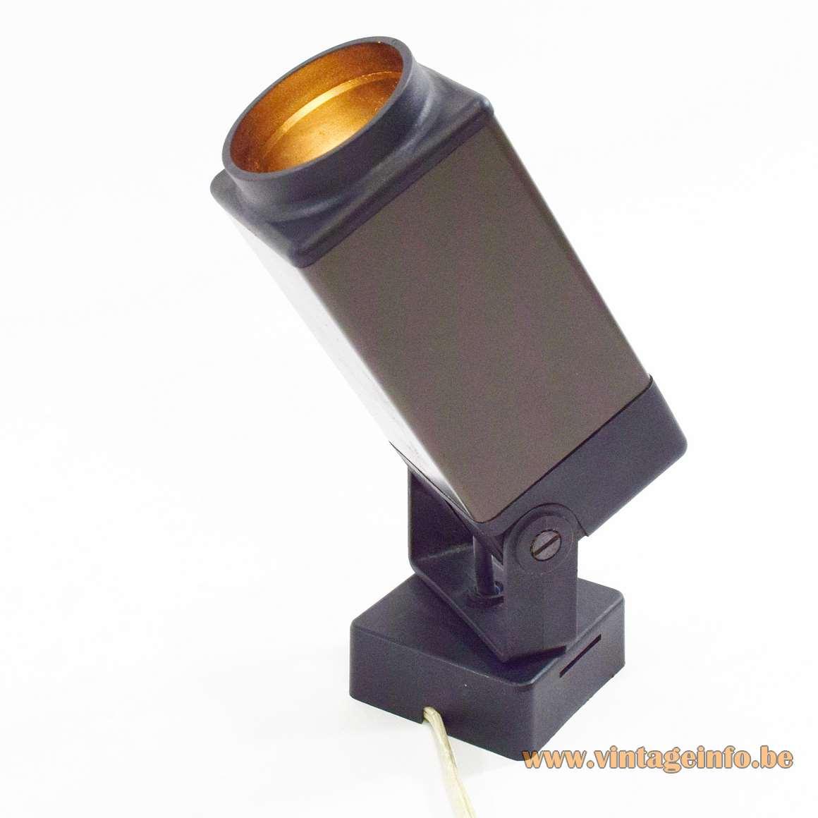 Philips 1970s square rectangular wall spotlight almuninium black plastic MCM lamp