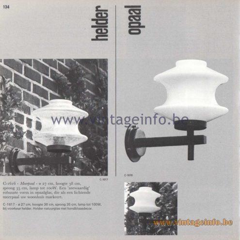 Raak Amsterdam Light Catalogue 8 - 1968 - Raak Garden/Outdoor Lamp Meerpaal - Helder C1616 and Opaal C-1617