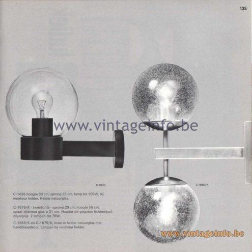 Raak Amsterdam Light Catalogue 8 - 1968 - Raak Garden/Outdoor Wall Lamps C-1635, C-1679/K, C-1689/K