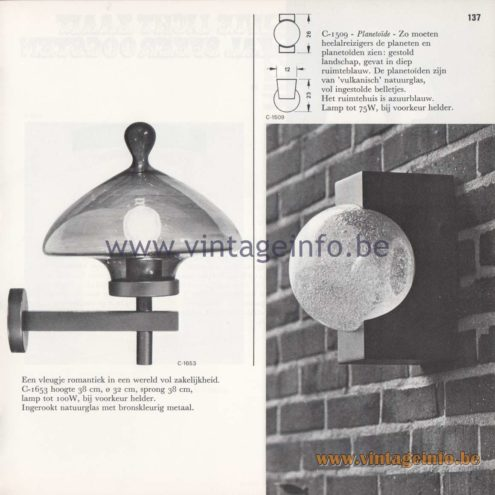 Raak Amsterdam Light Catalogue 8 - 1968 - Raak Garden/Outdoor Wall Lamp Chaparral C-1653 and Planetoïde (Asteroid) C-1509