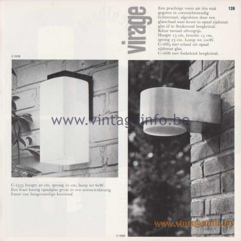 Raak Amsterdam Light Catalogue 8 - 1968 - Raak Garden/Outdoor Wall Lamps C-1535 and Virage (Turn) C-1685, C-1686