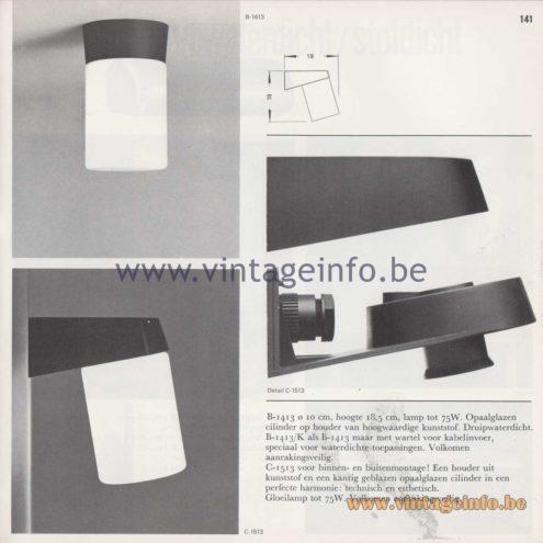 Raak Amsterdam Light Catalogue 8 - 1968 - Raak Garden/Outdoor Wall Lamp C-1513 and Flush Mounts B-1413, B-1413/K