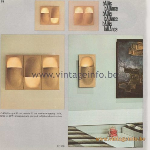 Raak Amsterdam Light Catalogue 8, 1968 - Balas, Balance Wall Lamps C-1550