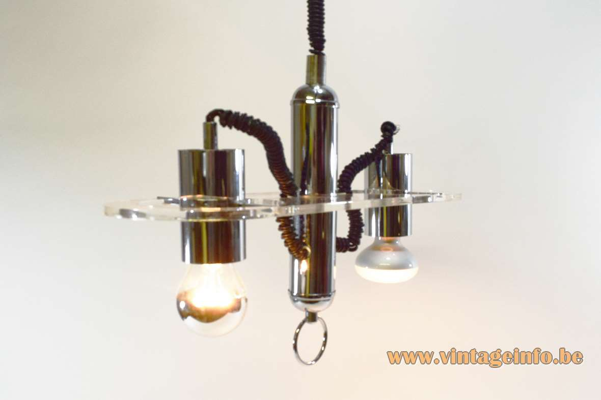 Rise & Fall Pillola spotlight pendant lamp 1968 design: Ezio Didone clear acrylic chrome tubes Valenti