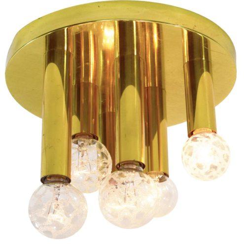 S.A. Boulanger brass flush mount Gaetano Sciolari 1960s 1970s 1980s 6 gold-croco-ice Paulmann bulbs MCM