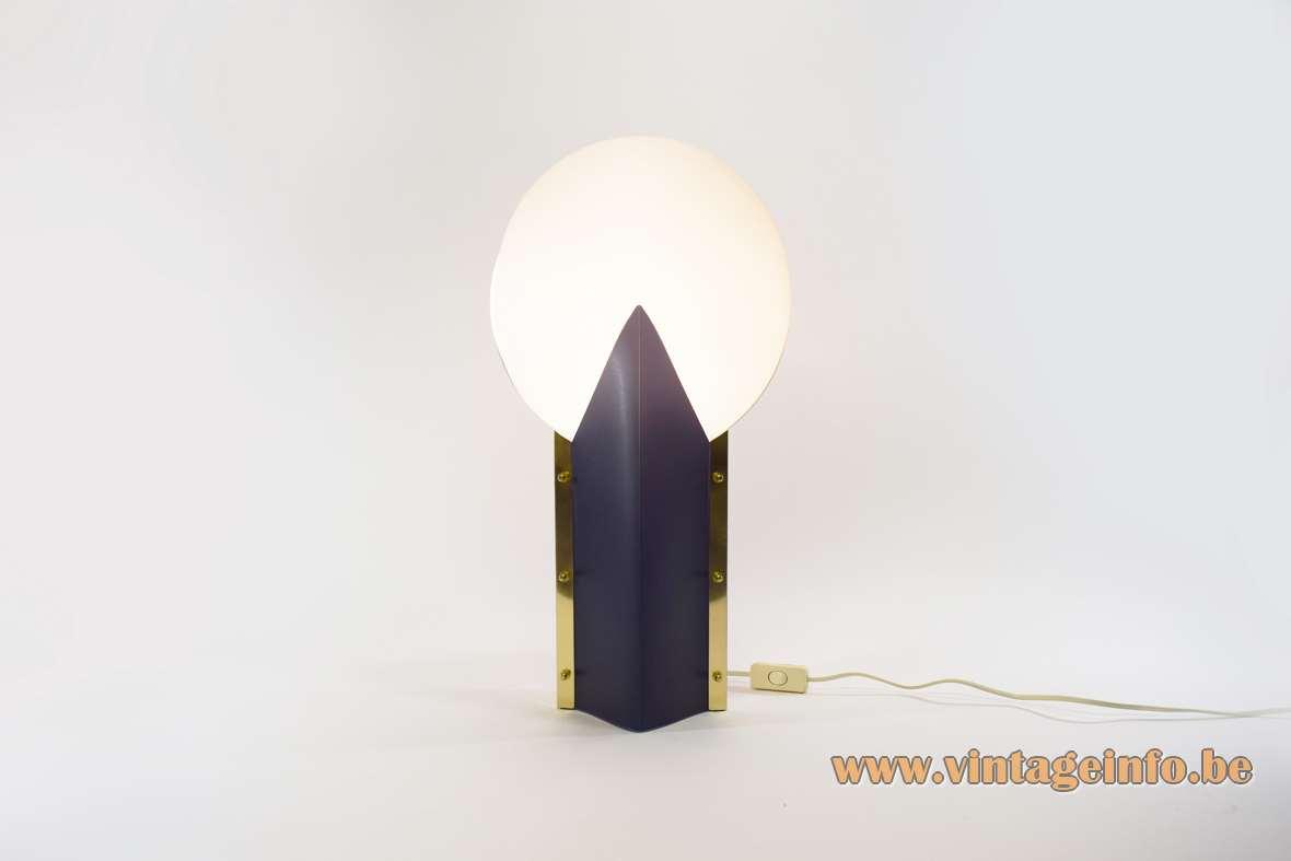 Samuel Parker Reflex table lamp black plastic base white lamsphade 1980s design Moon Slamp 1990s Italy