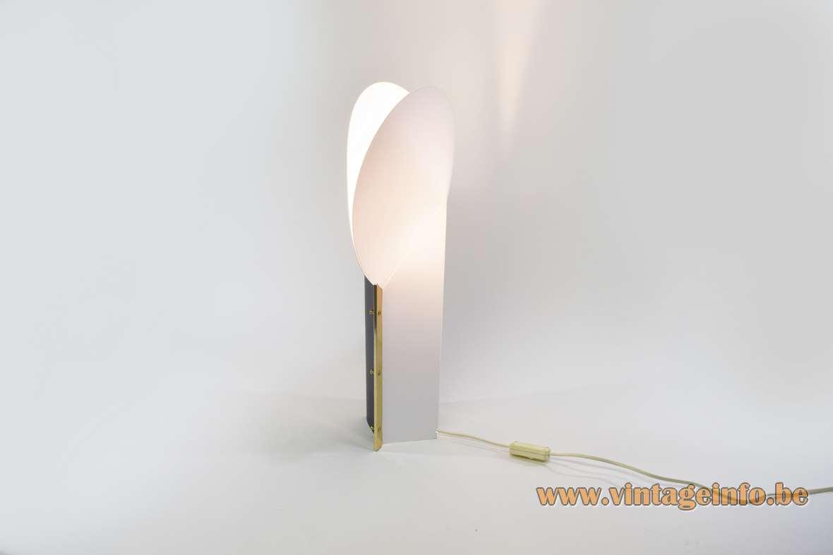 Samuel Parker Reflex table lamp plastic base white lamsphade 1980s design Moon Slamp 1990s Italy