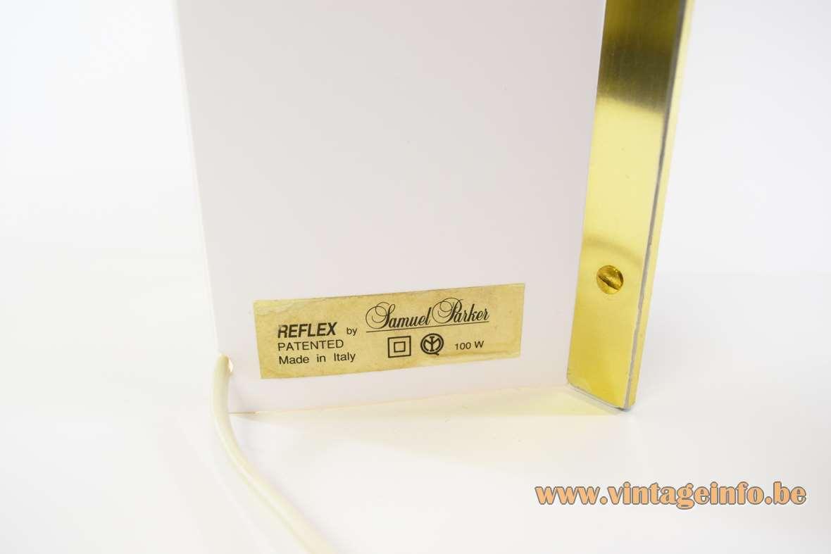Samuel Parker Reflex table lamp rectangular gold label 1980s design Slamp 1990s Italy