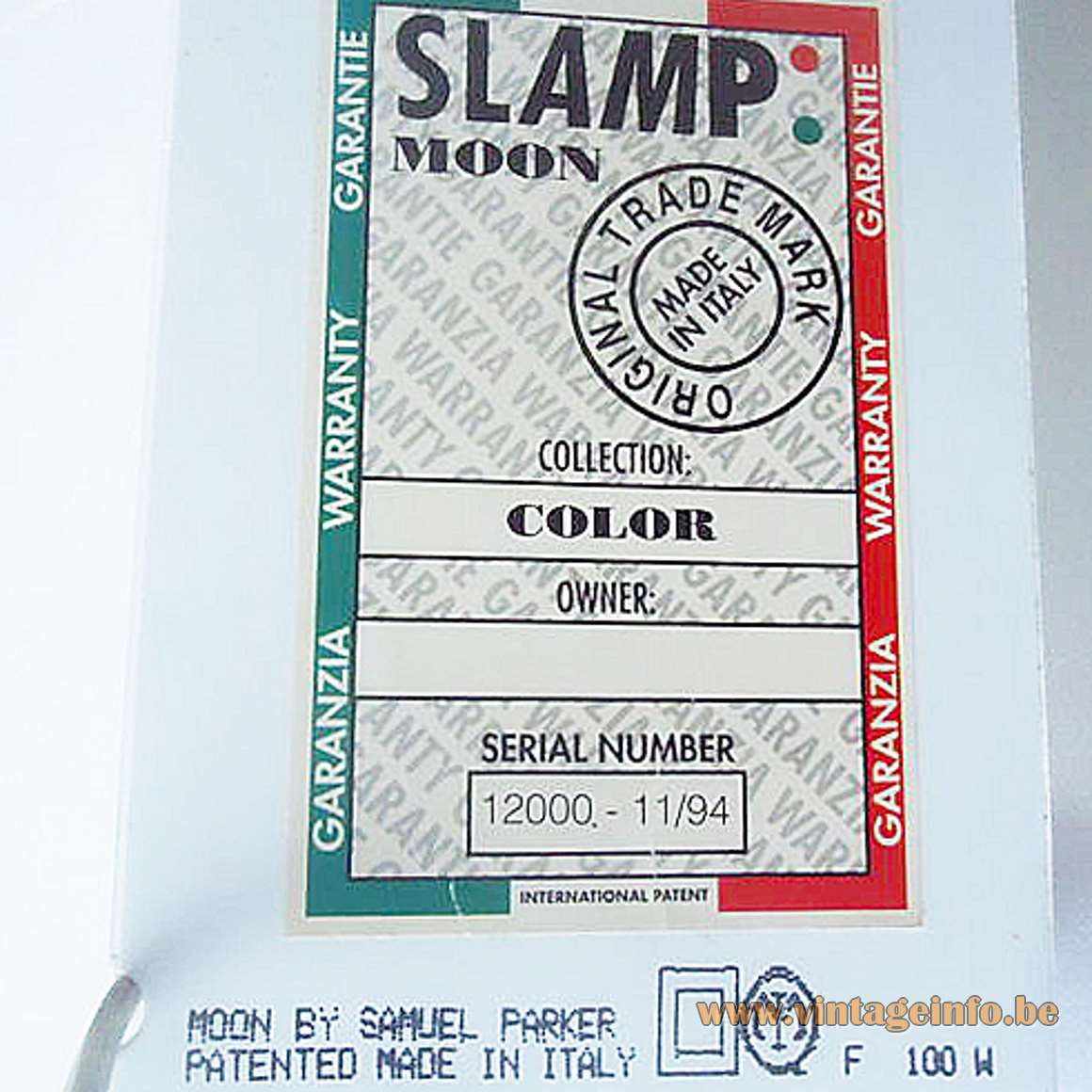 Slamp Moon Table Lamp - November 1994 label