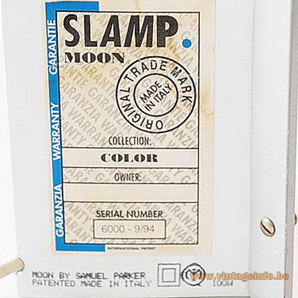Slamp Moon Table Lamp - 1994 label