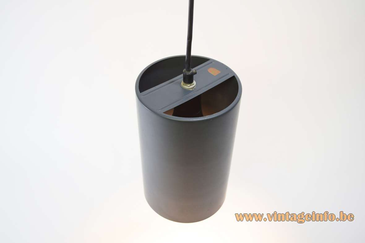 Philips 1960s cylindrical pendant lamp dark grey/anthracite cylinder E27 socket Louis Kalff The Netherlands MCM 1970s