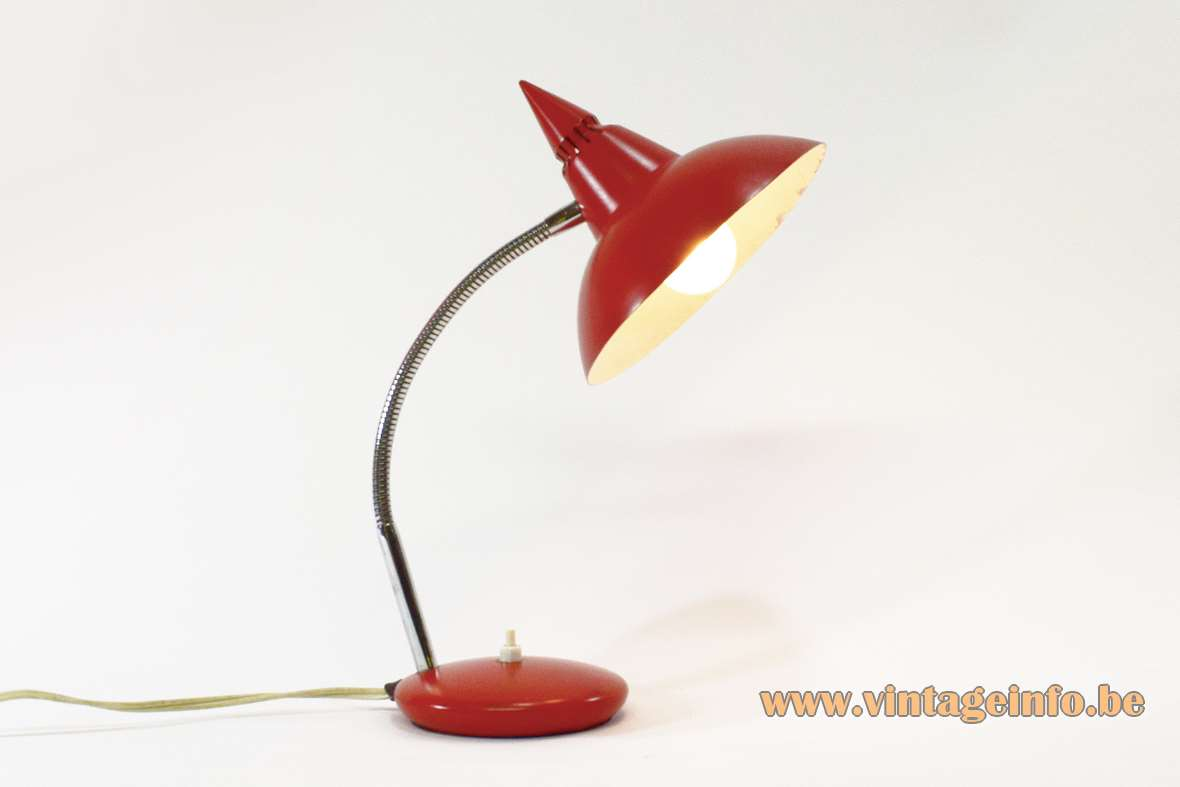 Red Italian Witch Hat Desk Lamp 1960s 1970s chrome gooseneck Prova BHS Massive MCM
