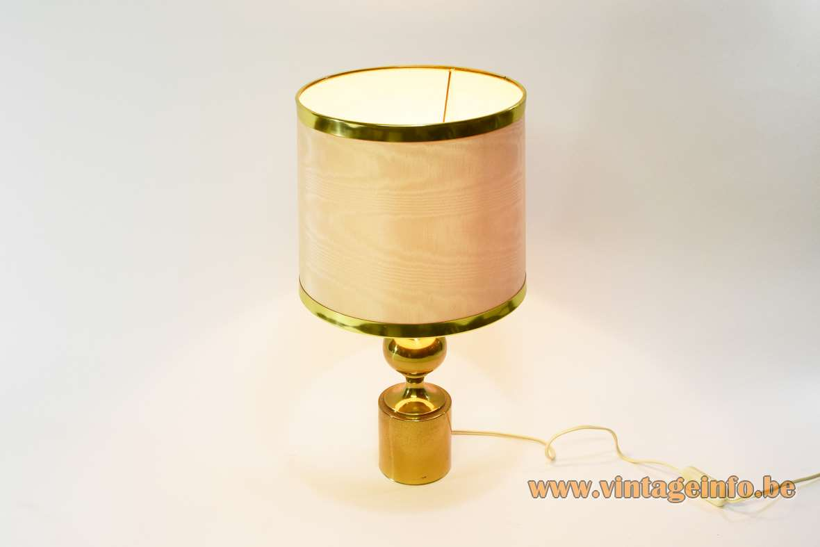 1970s brass table lamp with globe plated metal Philippe Barbier style round fabric lampshade Massive 1980s vintage