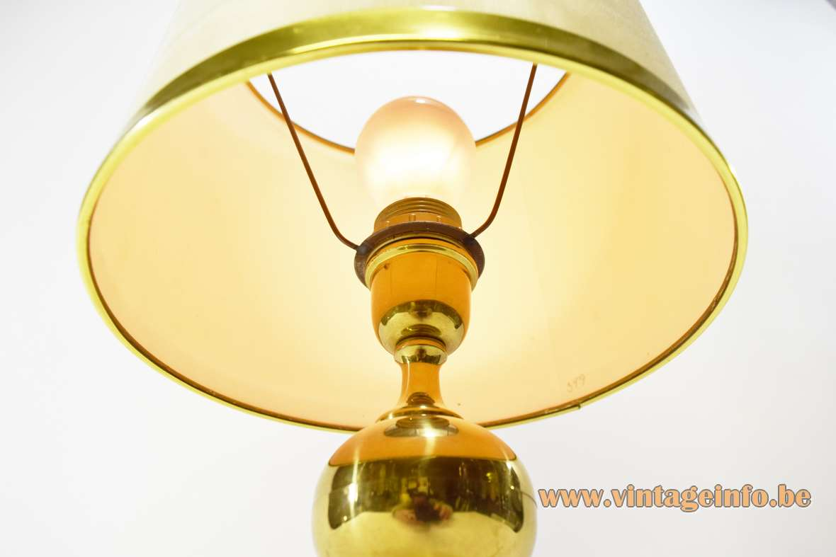 1970s brass table lamp with globe plated metal Philippe Barbier style round fabric lampshade Massive 1980s inside