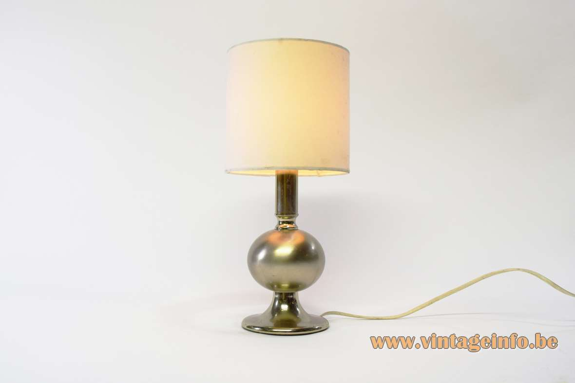 1970s chrome globe table lamp round metal base fabric lampshade E14 socket Massive Belgium MCM 1970s 1960s