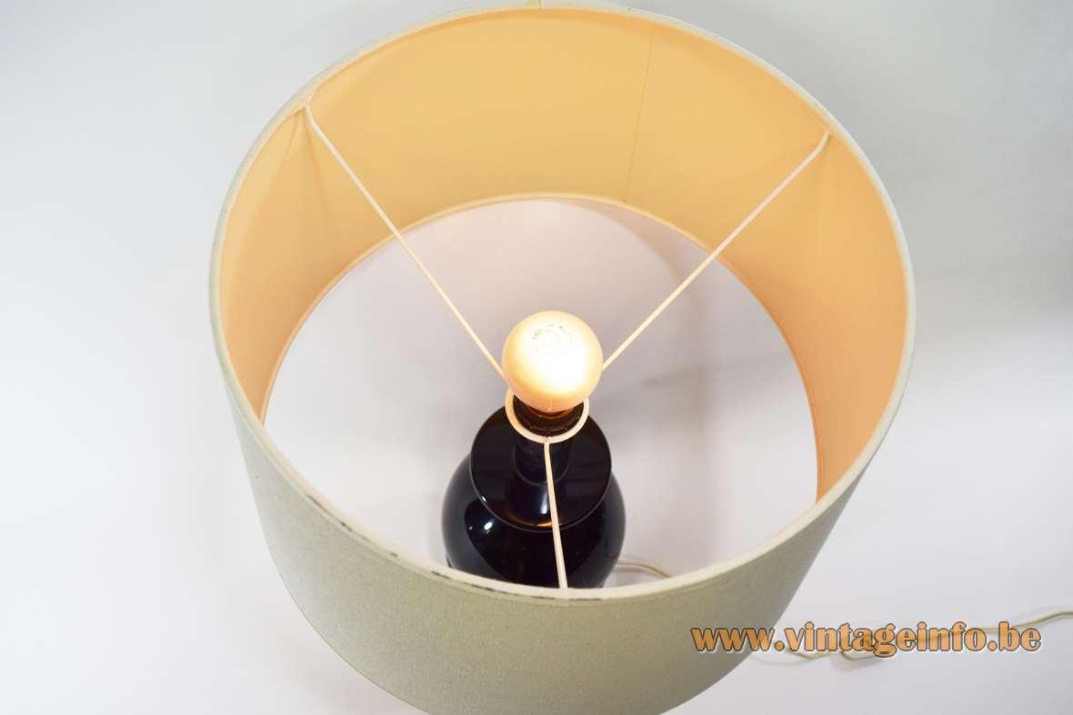 1970s Massive table lamp round chrome base black resin globe fabric lampshade Belgium vintage