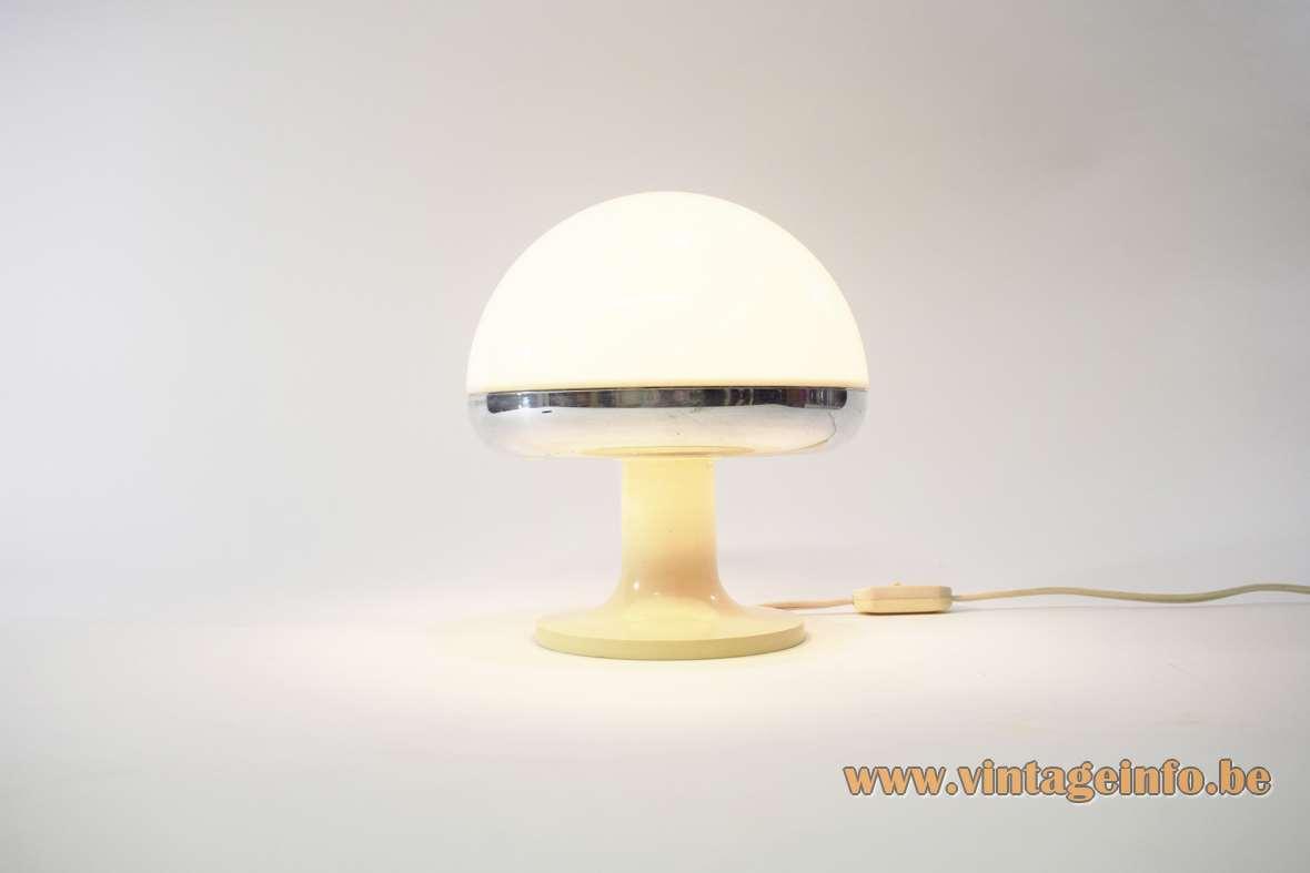 1970s Mushroom Table Lamp white acrilyc chrome rim round base iGuzzini Harvey Guzzini MCM