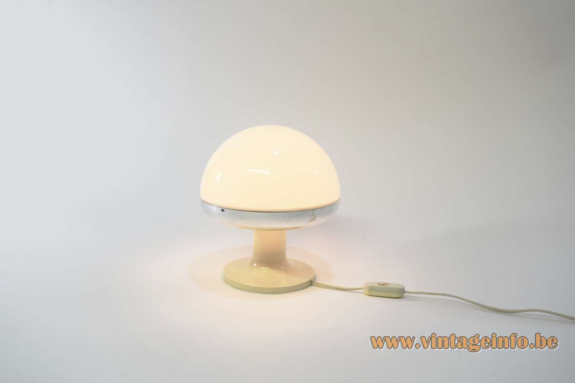 1970s mushroom table lamp white acrylic lampshade chrome rim round base Harvey Guzzini Italy iGuzzini vintage